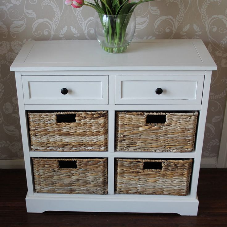 Cream Wicker Storage Unit - Two Drawer/Four Baskets