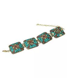 Waama Jewels Multi Colour Bollywood Inspired Partywear Collection Gold Plated Classy Tibetan Bracelet For Women