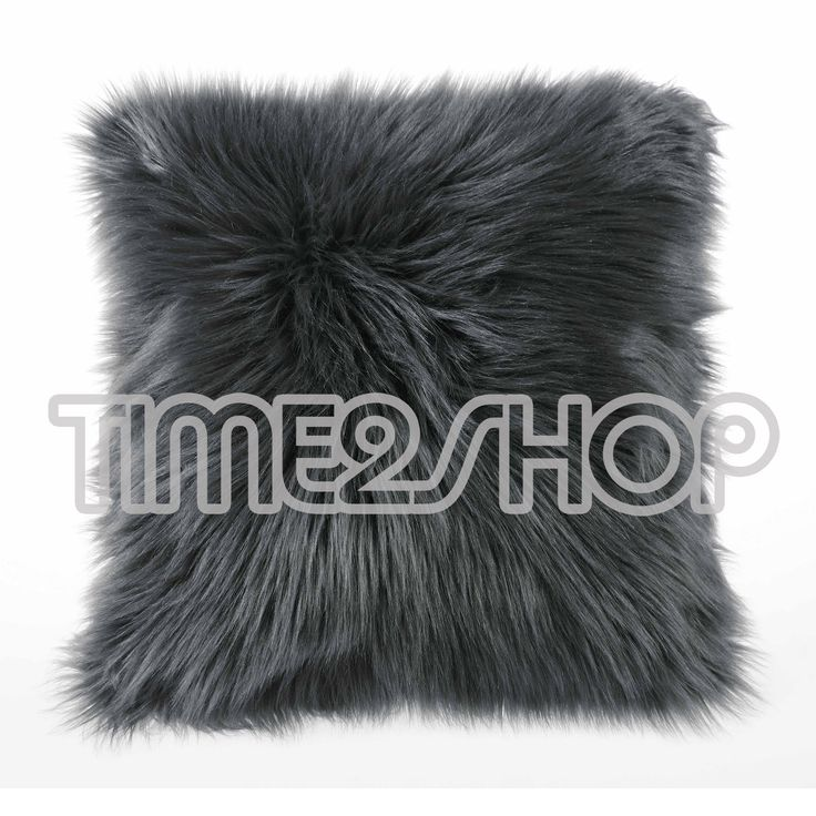 "Luxury Soft Faux Fur Fleece Cushion Cover Pillowcase Pillow Sham Grey 18""X18"" | eBay"