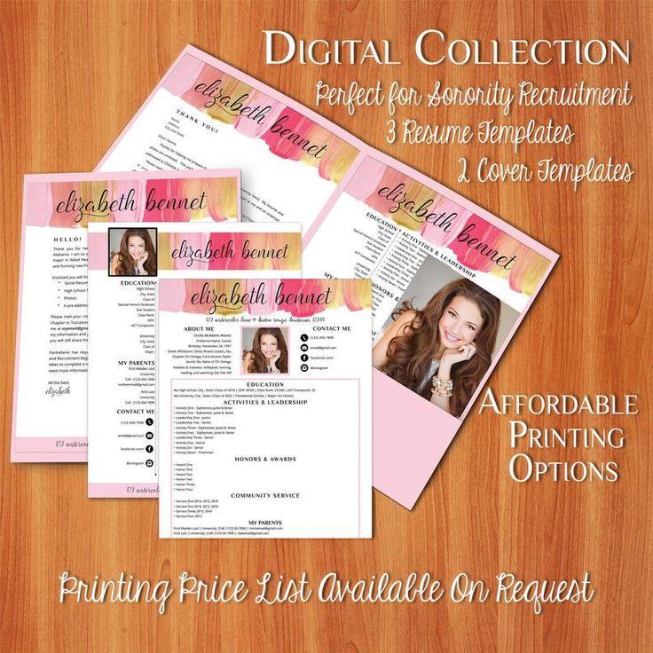 Elizabeth digital resume sorority recruitment packet
