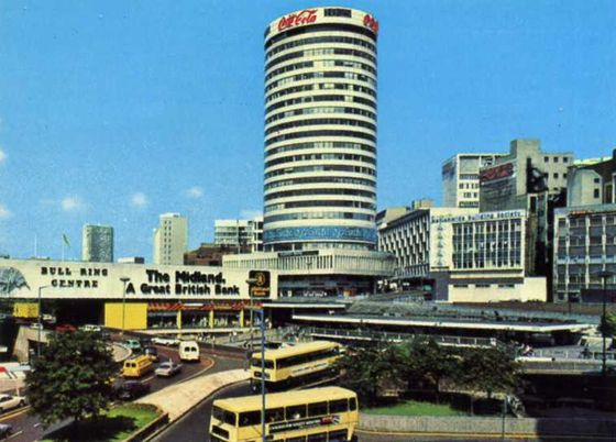 1978 Postcard view of the Birmingham Rotunda, Bull Ring and ring road.