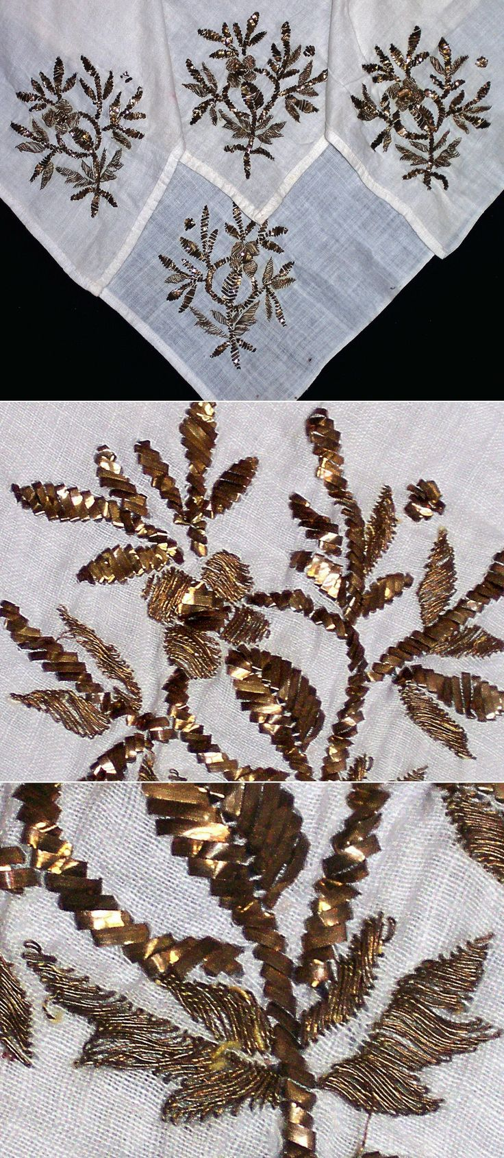 An embroidered 'çevre' (square kerchief; a decorative accessory).  From Trakya or the Marmara region, ca. 1925-1950.  Two embroidery techniques used: metal thread & 'tel kırma' (motives obtained by sticking narrow metallic strips through the fabric and folding them). Both techniques are 'two-sided' (the result identical on both sides of the fabric).  (Inv.nr. brdw024 - Kavak Costume Collection - Antwerpen/Belgium).