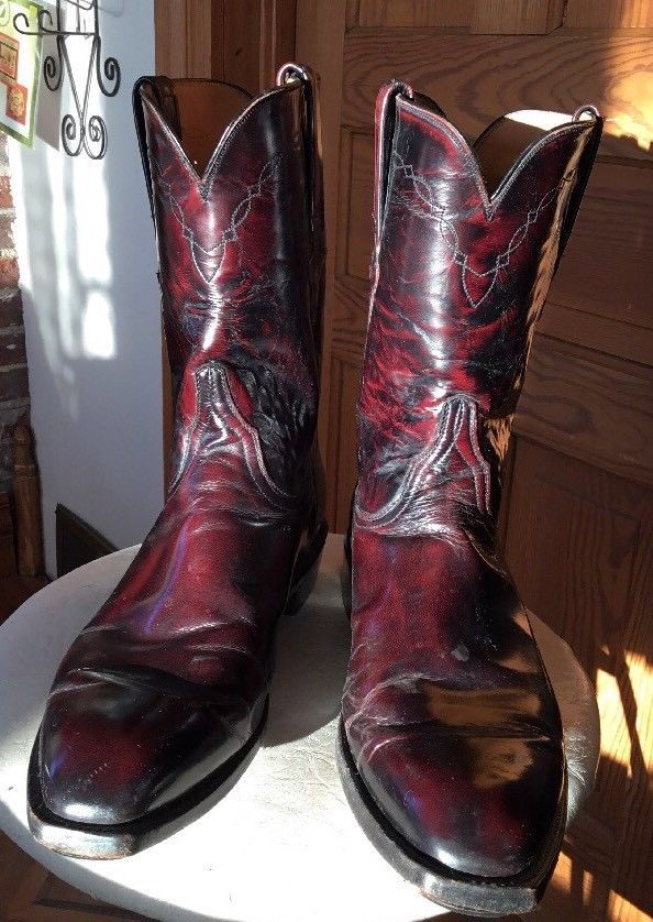 4f62cdbdefd Men's VINTAGE Lucchese Black Cherry/Western Boots: Size 11 1/2 D ...