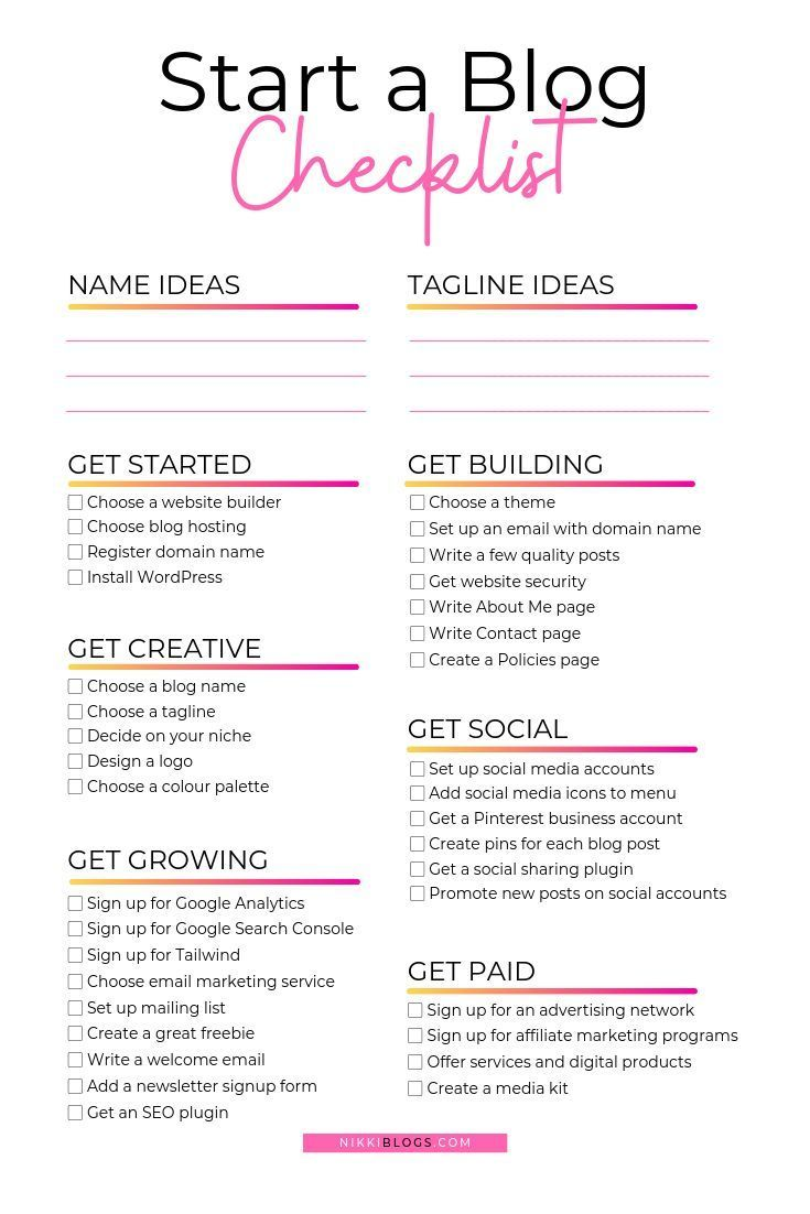 Get The How To Start A Blog Checklist For Beginners And Learn To Make Money Blog Get The How To Start A Blog C Blog Checklist How To Start A Blog
