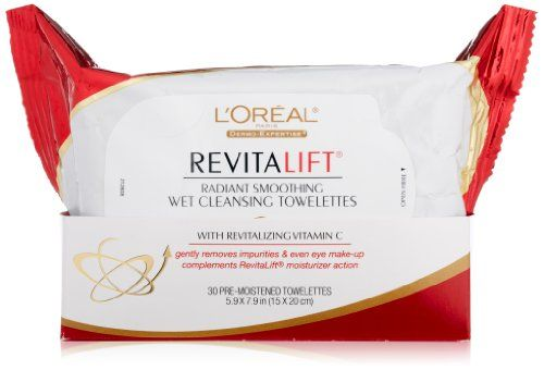 L'Oreal Paris RevitaLift Radiant Smoothing Wet Cleansing Towelettes, 30 CT  Price: $5.59 Body Care Tips