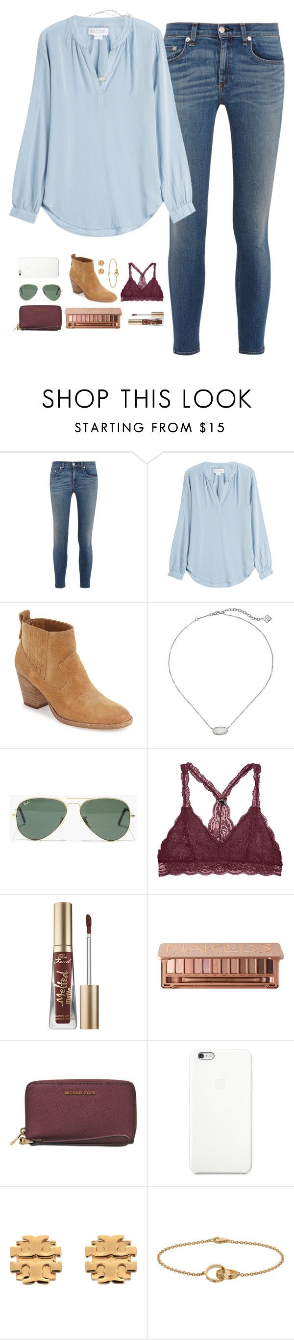 """""""it's spirit week for me!"""" by cjstefan ❤ liked on Polyvore featuring rag & bone, Velvet, Dolce Vita, Kendra Scott, Madewell, Too Faced Cosmetics, Urban Decay, MICHAEL Michael Kors, Tory Burch and Cartier"""