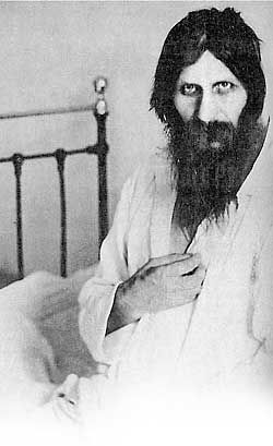 December 30, 1916: Killed, Grigori Yefimovich Rasputin. According to his assassins, Rasputin had been poisoned, shot, and clubbed before being thrown into the Nevka River. The murderers' accounts are not considered particularly accurate. Here, Rasputin is shown in 1914, recovering in the hospital from an earlier assassination attempt.