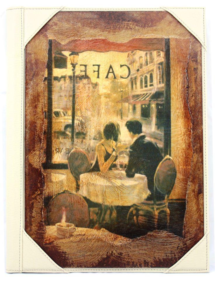 Desky na jídelní lístek vytváří výtvarnice z různých obrázků i jako koláže.