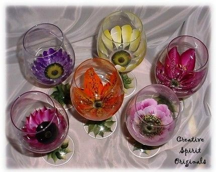 Hand Painted Open Flower Wine Glasses, via Flickr. - by Creative Spirit Originals