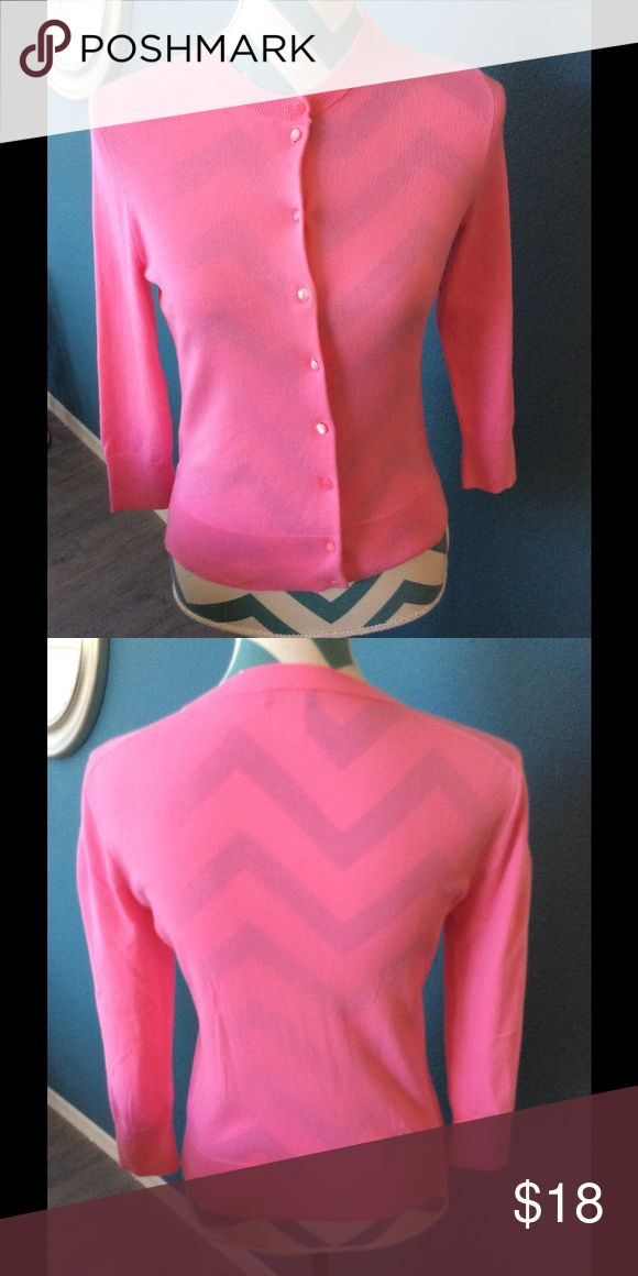J. Crew 100% cotton pink cardigan, SZ S J crew 100% cotton and bright pink cardigan with crewneck three-quarter sleeves of buttons down the front a great basically layer that you can wear year around add a pop of color to any outfit. J. Crew Sweaters Cardigans