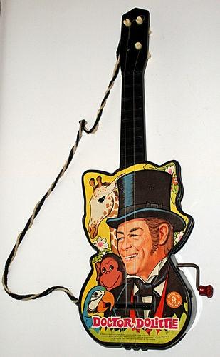 Dr Dolittle Vintage Black Toy Guitar By Mattel Toymakers 1967 Rex Harrison Rare