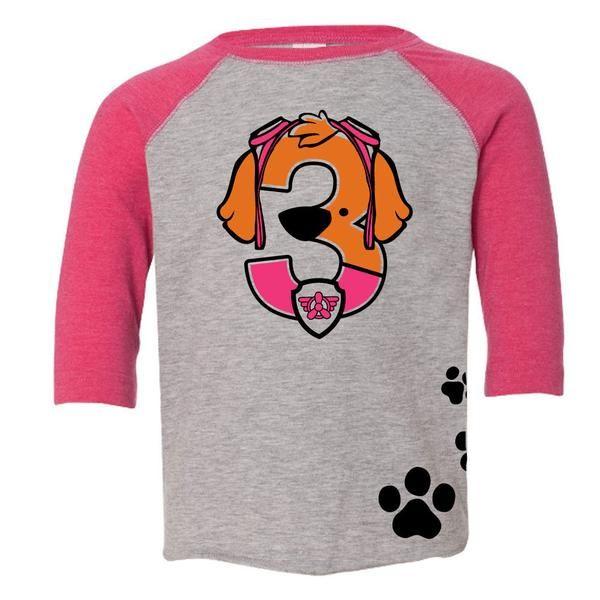 Age Memory Paw Patrol Skye Birthday Custom Raglan Toddler Shirt with Name on Back #toddler #birthday #customshirt #pawpatrol #skye #toddlerlife #toddlertees