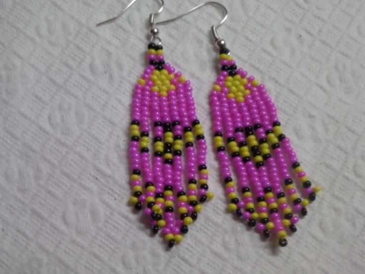 brick stitch and fringe native American style earrings