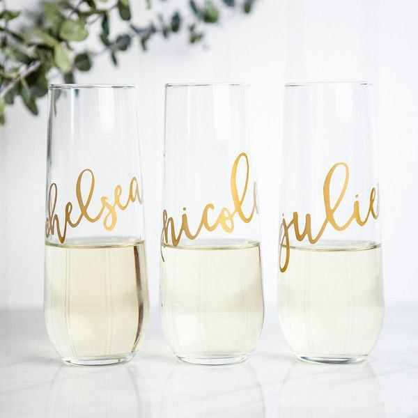 Personalized Bridesmaid Champagne Flute Gold