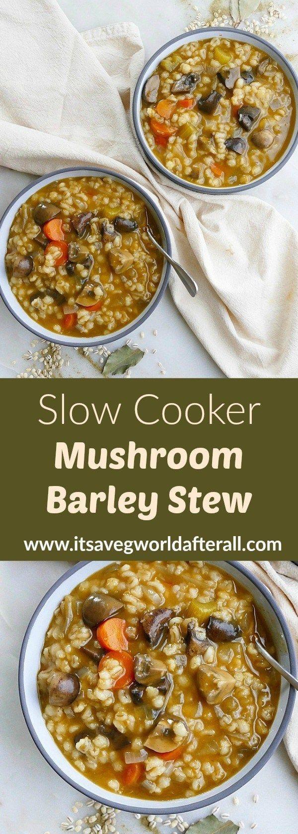 Apr 8, 2020 – Slow Cooker Mushroom Barley Stew – an easy crockpot mushroom barley soup that's vegan, flavorful, and so c…