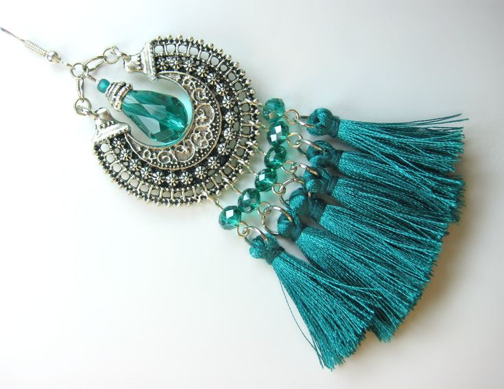 ***SALE*** 25% OFF EVERYTHING! HAPPY BELATED MOTHER'S DAY! xXx Large Sumptuous Green Teal Silky Tassel Crystal Antique Silver Ethnic Boho Hoop Chandelier Earrings #BBUK #BespokeBijiouxUK #Jewellery #Vogue #Handmade #tasselearrings #Etsy #gifts #crystal #swarovski #accessories #bookmarks #gemstones #birthstones #jewelry #chokers #necklaces #bracelets #ValentinesDay #FashionWeek #MothersDay http://etsy.me/2pdE0p0