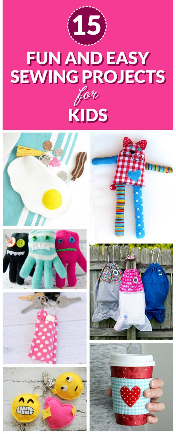 15 Fun and Easy Sewing Projects for Kids. These starter sewing projects will help kids learn and develop dexterity and coordination. Sewing can bring hours of joy and it's also a practical life skill. Click to check out these amazing ideas now.
