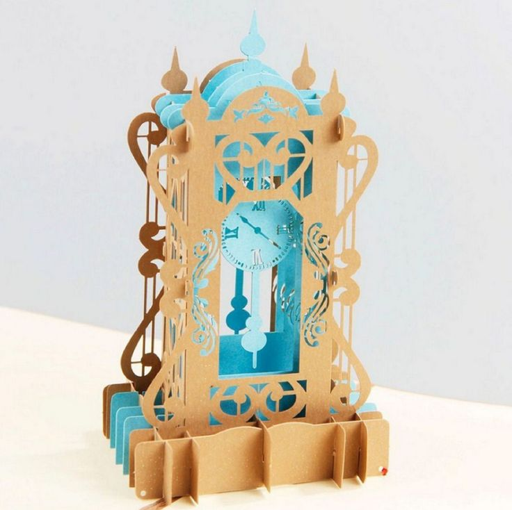 3D Antique Clock Pop Up Invitation Greeting Card Wedding Birthday Fairy  Taleu2026