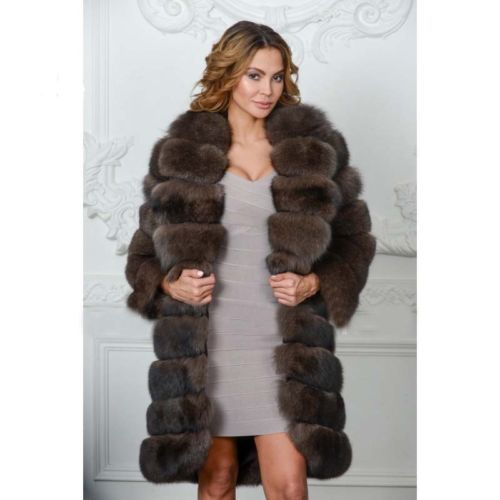 Luxury Full Pelt Genuine Fox Fur Coat For Women Warm Big Collar Dark Sable Color