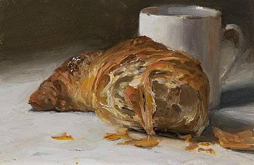daily painting titled Croissant au Beurre. Julian Merrow-Smith