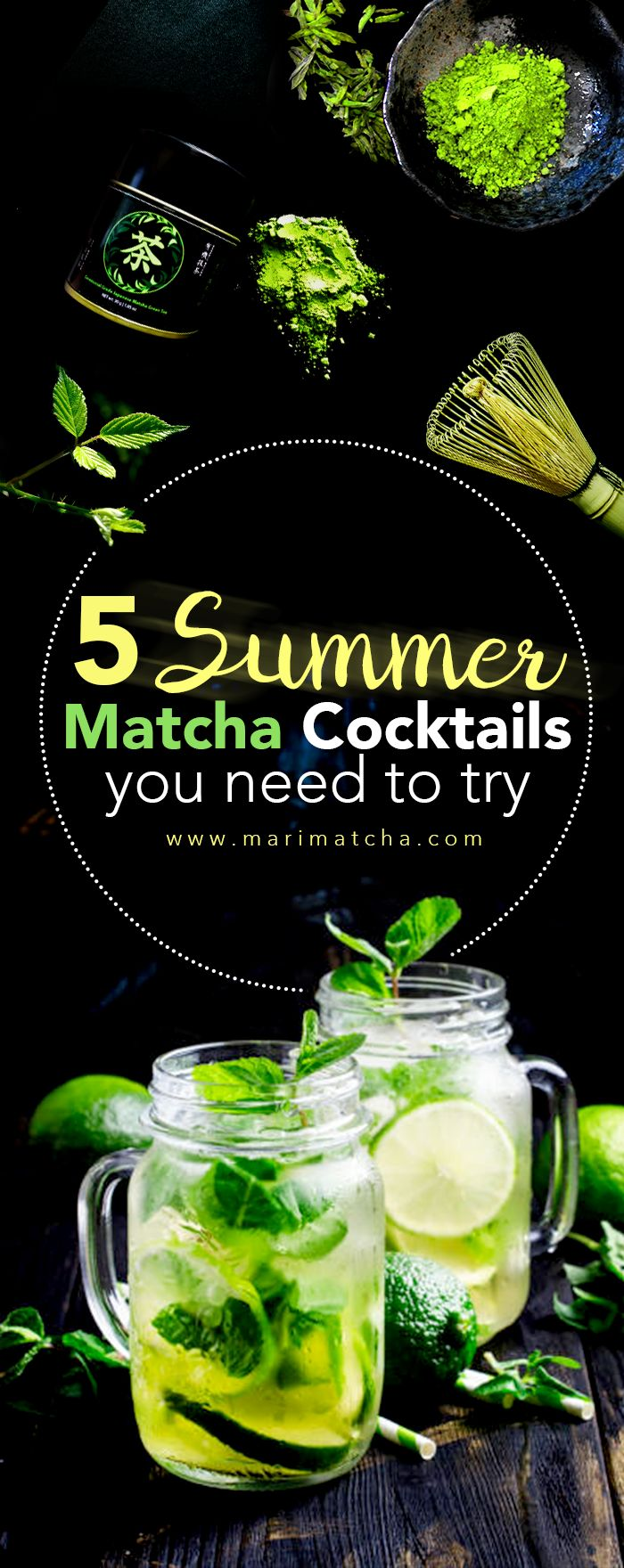 Summer is not over yet! Dive into the refreshing world of Matcha drinks with our new post about the 5 best Matcha cocktails out there! Read more at ---> www.marimatcha.com #matcha #matchagreentea #green tea #tea #drinks #cocktails #summer #antioxidants #detox #healthy #teatime #marimatchatea