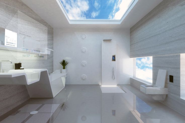 This bathrooms of the future will include smart mirrors, integrated floor scales and wall speakers, and hi-tech controls for the toilet and shower