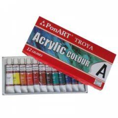 Ponart Troya Akrilik Boya 12 Renk x 12 ml.