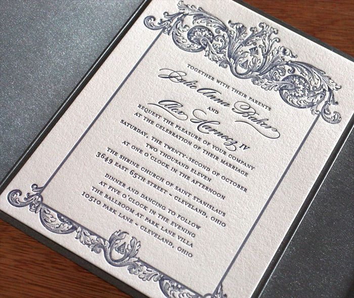 Baroque style letterpress wedding invitation with an ornate border.  | Invitations by Ajalon | invitationsbyajalon.com
