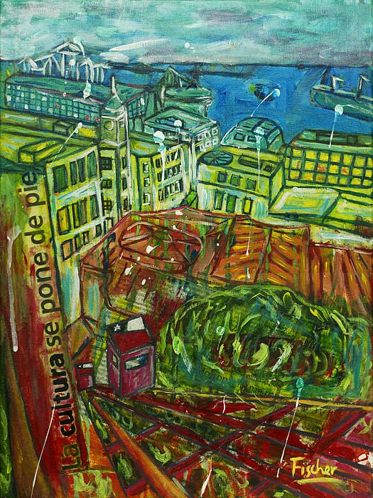 'Funicular elevators of Valparaiso', mixed media on canvas, 40x30cm #art #painting #artist #mixedmedia #valparaiso #colorful #canvas #fischerart