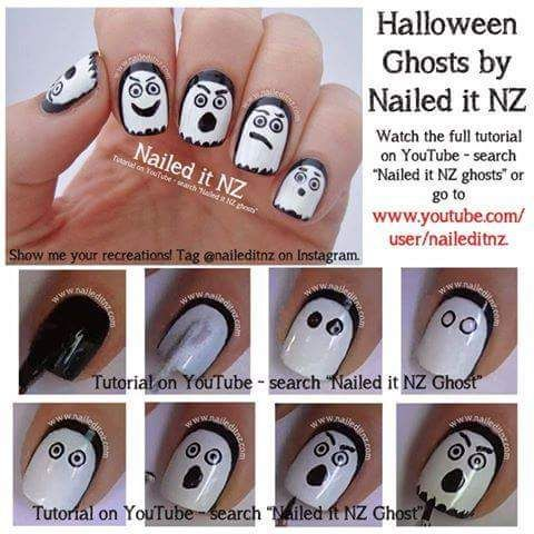 13 best halloween nail art images on pinterest beauty tips nice halloween nail art tutorials ghost jack o lantern skeleton nailed it nz prinsesfo Images