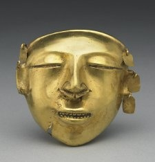 Mask, tumbaga, Colombia, 500 BC-600, early Quimbaya.