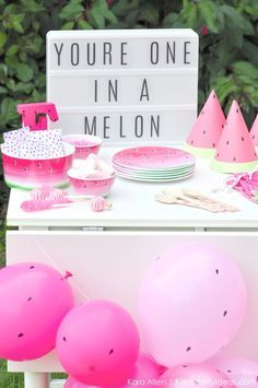 Watermelon themed DIY birthday party by Kara's Party Ideas   Kara Allen   http://KarasPartyIdeas.com #MichaelsMakers You're one in a melon!_-45