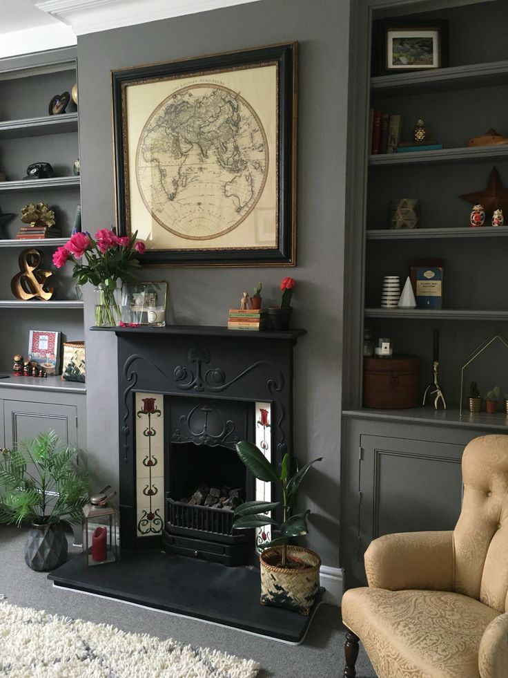 Farrow and Ball Moles Breath Grey Living Room