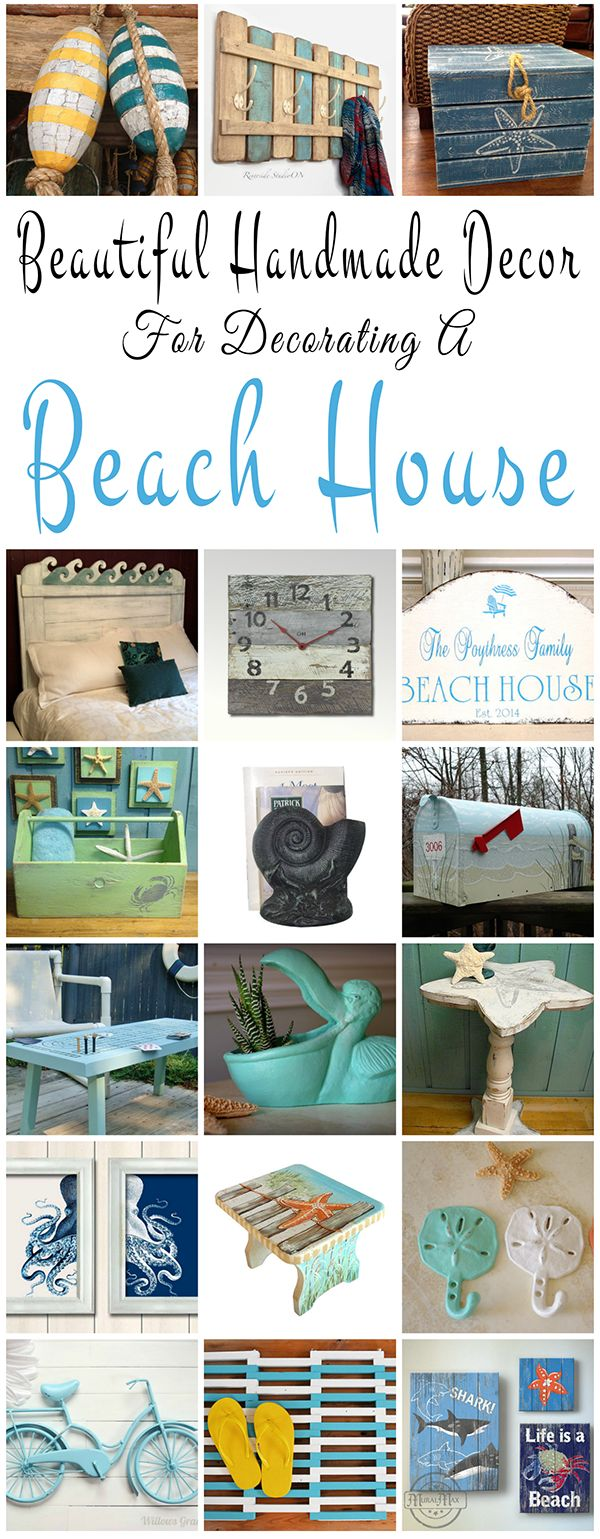 Beautiful handmade decor ideas for decorating a beach house or summer cottage. You will find decor accents that will fit into any coastal, nautical or beach inspired  room, all lovingly hand crafted from artists across the US and Canada. Click through to see all our favorite picks!