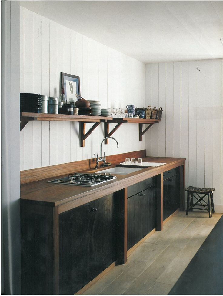 Kitchens Interiors, Kitchens Design, Open Shelves, Cabin Kitchens, Black Cabinets, Rustic Kitchens, Design Kitchens, Modern Kitchens, Wood Countertops