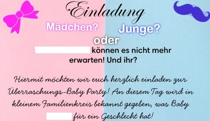 Gender Reveal Vorlage Babyparty Party Baby