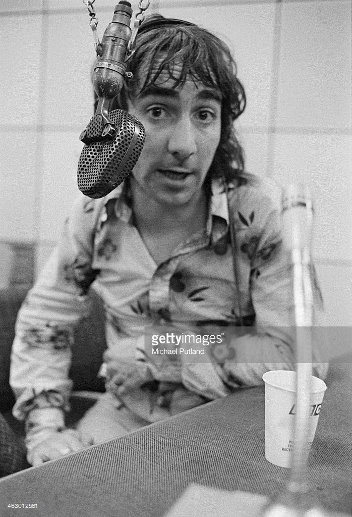 Drummer Keith Moon (1946 - 1978), of The Who, in a BBC radio studio at Broadcasting House, London, 11th July 1973.