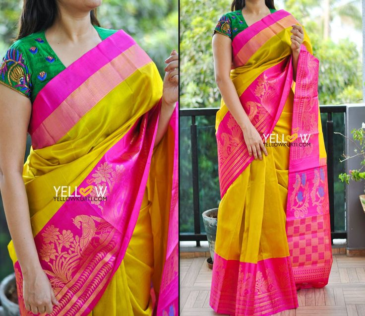 Greenish yellow Kuppadam silk saree with pink and woven zari floral and deers border .Blouse - Pink plain blouse material provided. Kindly write to us at teamyellow@yellowkurti.com  for Orders !  10 March 2017