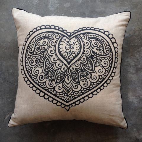 Black Mehendi Linen Natural Cushion