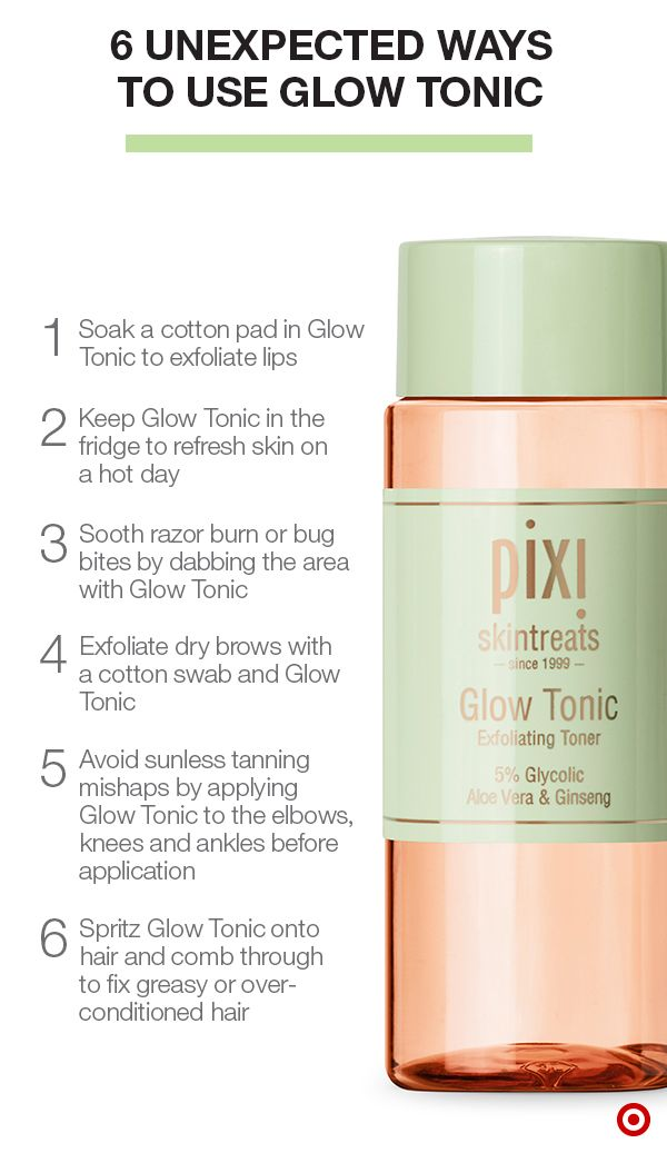 "Pixi Glow Tonic has been called a ""miracle in a bottle"". Botanical extracts like aloe and witch hazel soothe & hydrate skin, while 5% glycolic acid helps remove dull skin for a radiant complexion. Use it as a facial toner to minimize pores, speed cell renewal, and help serums and moisturizers work more effectively. While it's primarily applied as a toner, Glow Tonic can also be used in a variety of unexpected ways, from exfoliation to preventing tanning mishaps to hair saver."