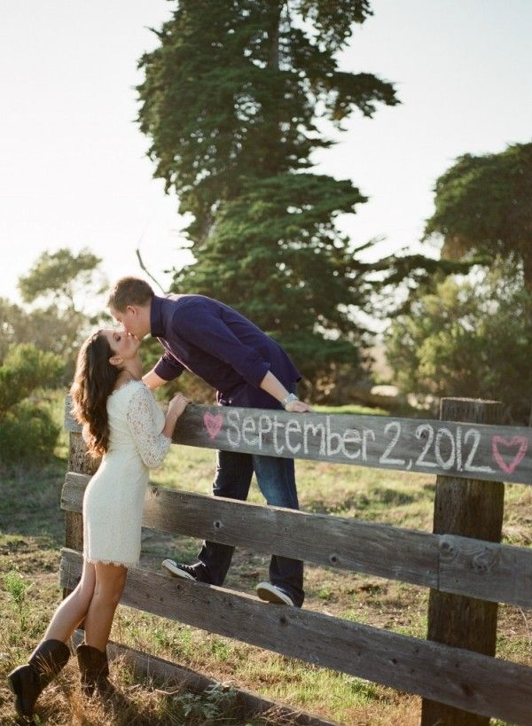 Chalk + fence = adorable save the date idea. :) Except I would have the girl on the fence and the guy on the other side