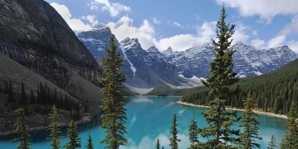 The stunning Maligne Lake in the Canadian Rockies