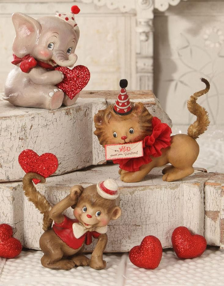 Bethany Lowe Valentine's Day Wild About You Animal Figures, Set of 3
