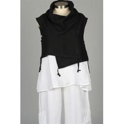 Pennie Vest, Black: An excellent all-season piece in beautiful black linen. Layer up through the seasons. Made in the US.