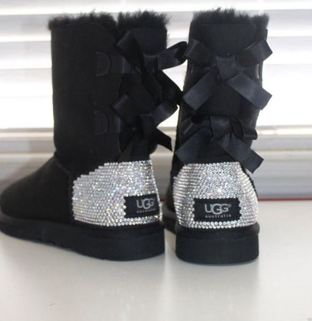 Black Bow Rhinestone Uggs Fashion Bow Boots Uggs
