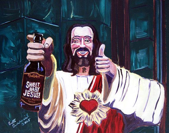 Beer Oil Painting of Sweet Baby Jesus by DuClaw Brewing, Jesus Painting, Buddy Christ, Gift for Husband, Bar Art, Gift for Beer Nerd