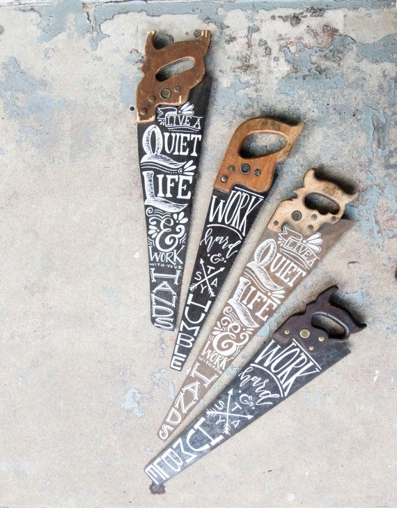 Hand Painted Saw Choose Your Quote by WinsomeEasel on Etsy
