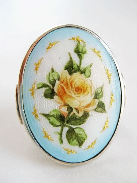 Rare Huge Ole Nicolai Olberg Sterling Enamel Norway Ring Guilloche Rose