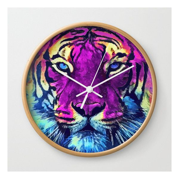 tiger purple spirit #tiger Wall Clock ($31) ❤ liked on Polyvore featuring home, home decor, clocks, purple clock, purple home accessories, purple wall clock and purple home decor