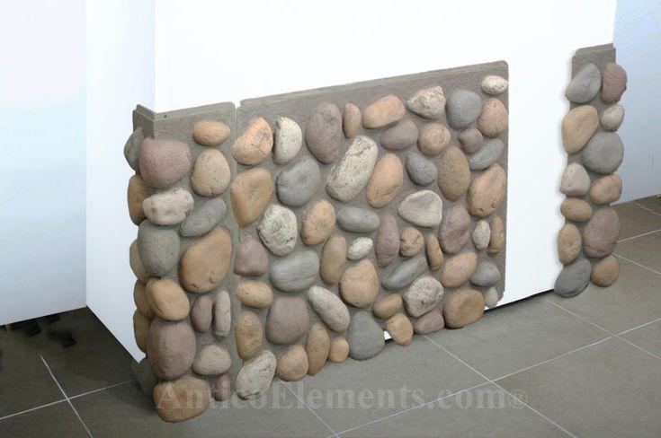 massive rock fireplaces, river stones | Faux River Rock Panels Installation